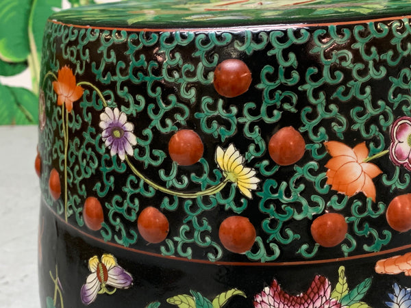 Hand Painted Floral Chinoiserie Garden Stool close up