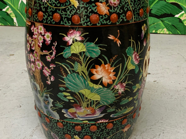 Hand Painted Floral Chinoiserie Garden Stool side view