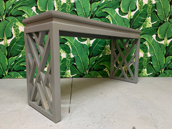 Chinese Chinoiserie Chippendale Lattice Console Table