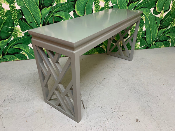Chinese Chinoiserie Chippendale Lattice Console Table top view