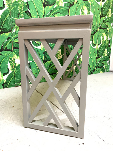 Chinese Chinoiserie Chippendale Lattice Console Table side view