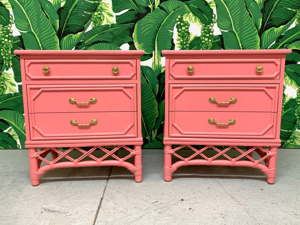 Ficks Reed Pink Rattan Nightstands, a Pair