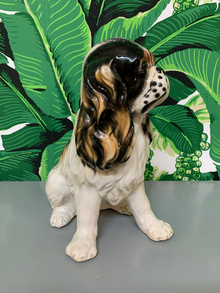 Ceramic King Charles Spaniel Dog Statue side view