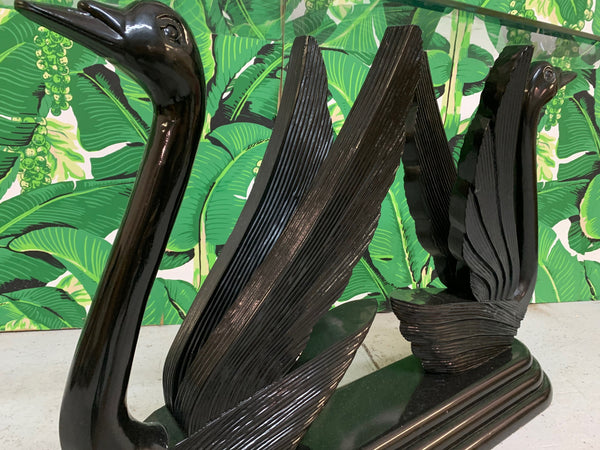 Sculptural Black Swan Statue Console Table