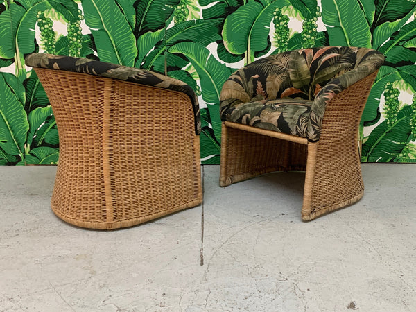 Sculptural Wicker Club Tropical Chairs, a Pair front view