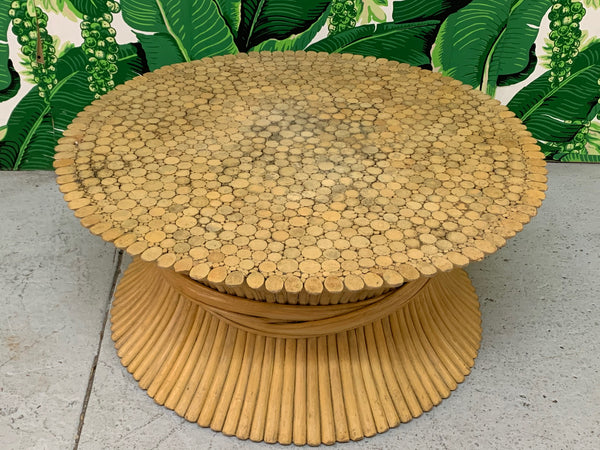 McGuire Sheaf of Wheat Rattan Coffee Table top view