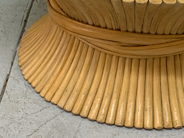 McGuire Sheaf of Wheat Rattan Coffee Table close up