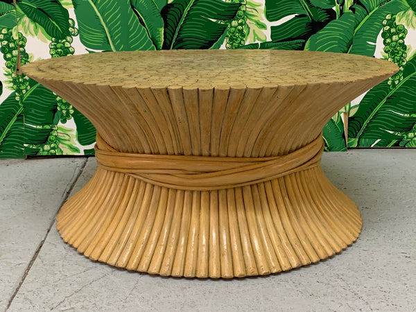 McGuire Sheaf of Wheat Rattan Coffee Table front view