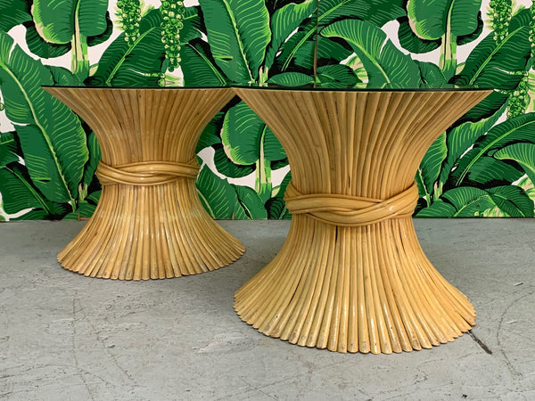 McGuire Sheaf of Wheat End Tables, a Pair side view