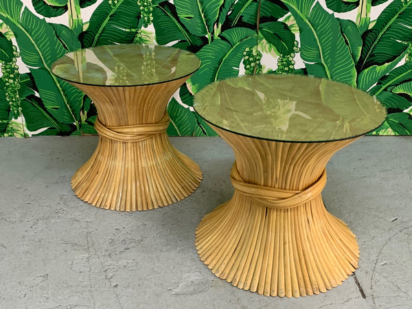 McGuire Sheaf of Wheat End Tables, a Pair