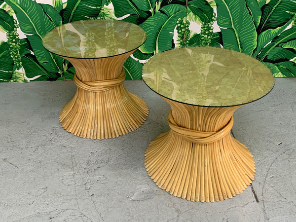 McGuire Sheaf of Wheat End Tables, a Pair top view