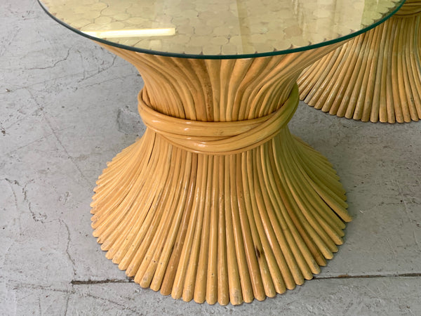 McGuire Sheaf of Wheat End Tables, a Pair close up
