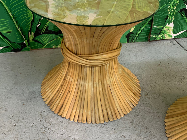 McGuire Sheaf of Wheat End Tables, a Pair lower view