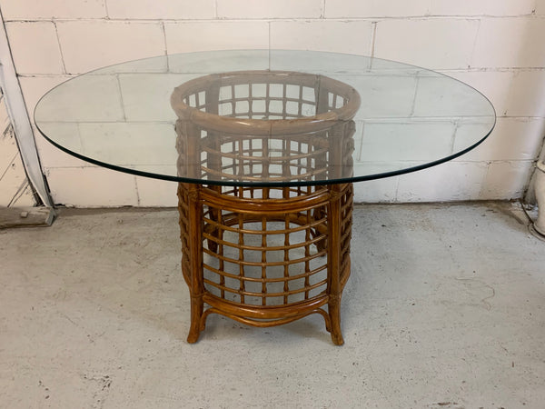 Rattan and Brass Dining Table