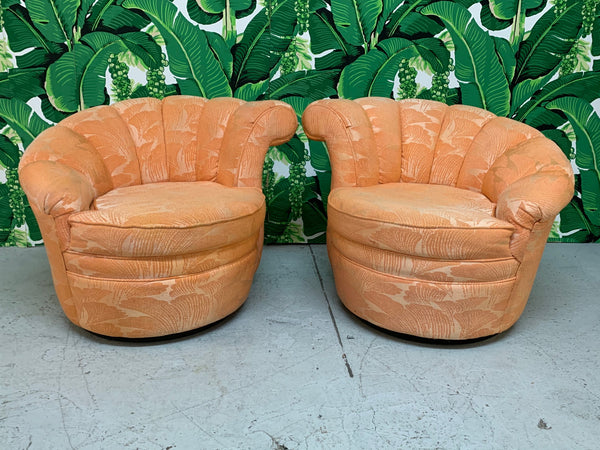 Shell Channel Back Tufted Nautilus Swivel Chairs, a Pair front view