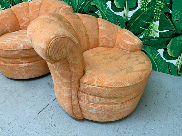 Shell Channel Back Tufted Nautilus Swivel Chairs, a Pair side view
