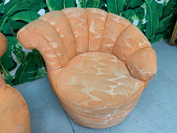 Shell Channel Back Tufted Nautilus Swivel Chairs, a Pair