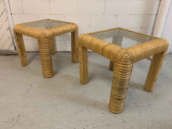Mid Century Rattan Split Reed End Tables, a Pair front view