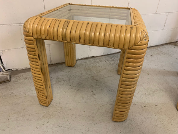 Mid Century Rattan Split Reed End Tables, a Pair side view
