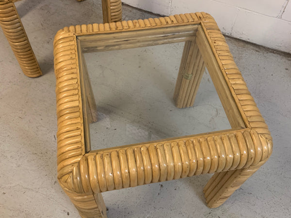 Mid Century Rattan Split Reed End Tables, a Pair
