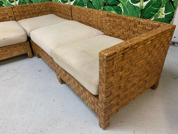 Block Wicker Woven Sectional Sofa side view