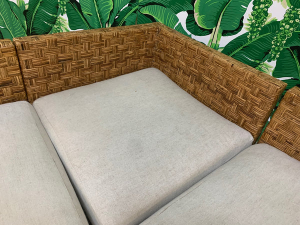 Block Wicker Woven Sectional Sofa close up