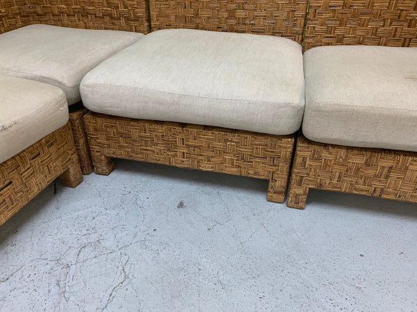 Block Wicker Woven Sectional Sofa front view