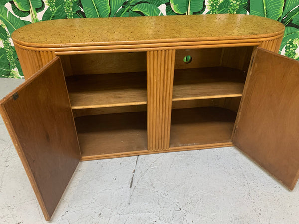Rattan Split Reed Oval Credenza interior view