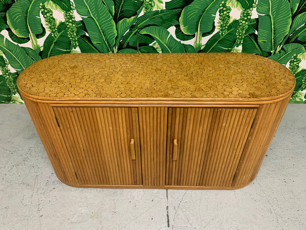 Rattan Split Reed Oval Credenza top view