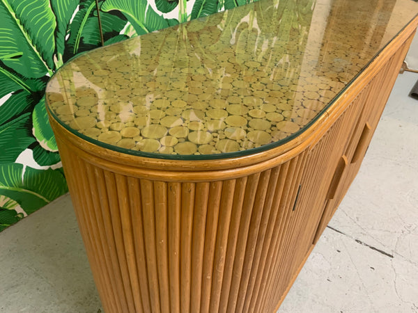 Rattan Split Reed Oval Credenza close up