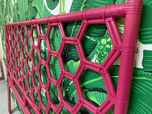 King Size Honeycomb Rattan Headboard