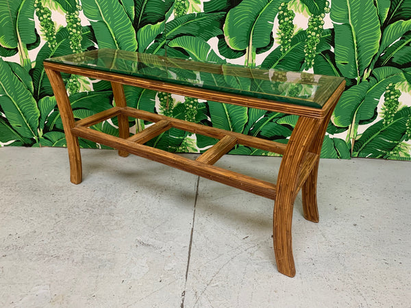 Split Reed Rattan Console Table front view