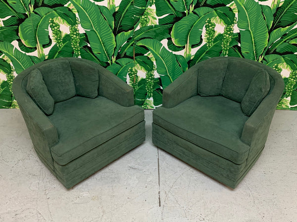 Mid Century Swivel Club Chairs by Kaylyn, a Pair top view