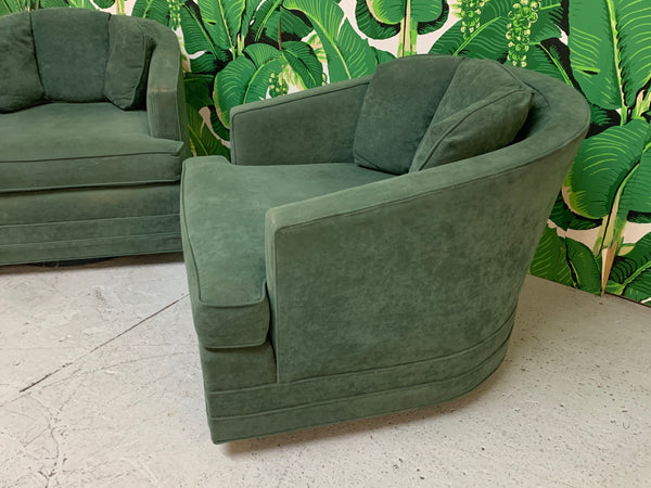 Mid Century Swivel Club Chairs by Kaylyn, a Pair side view