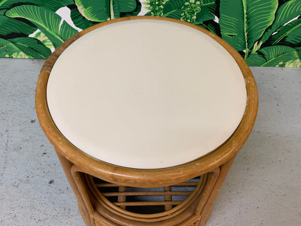 Split Reed Rattan Drum End Table in the Manner of Gabriella Crespi top view