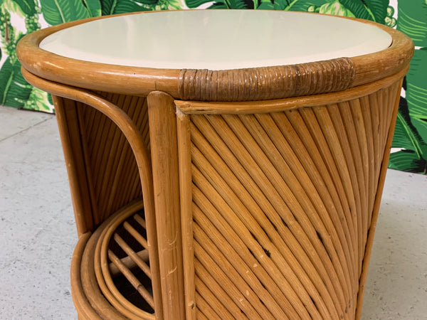 Split Reed Rattan Drum End Table in the Manner of Gabriella Crespi close up