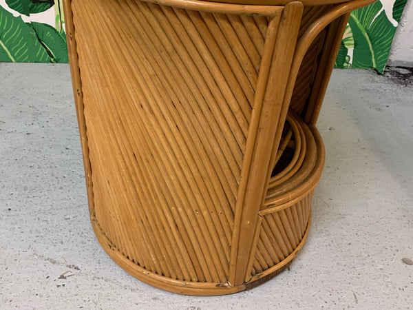 Split Reed Rattan Drum End Table in the Manner of Gabriella Crespi lower view