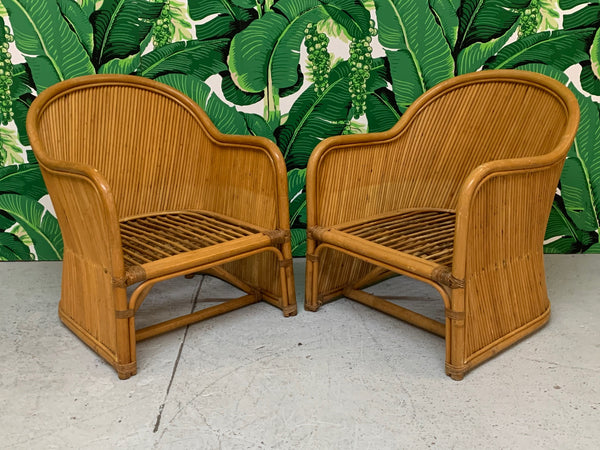 Split Reed Rattan Club Chairs in the Manner of Gabriella Crespi front view