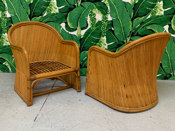 Split Reed Rattan Club Chairs in the Manner of Gabriella Crespi