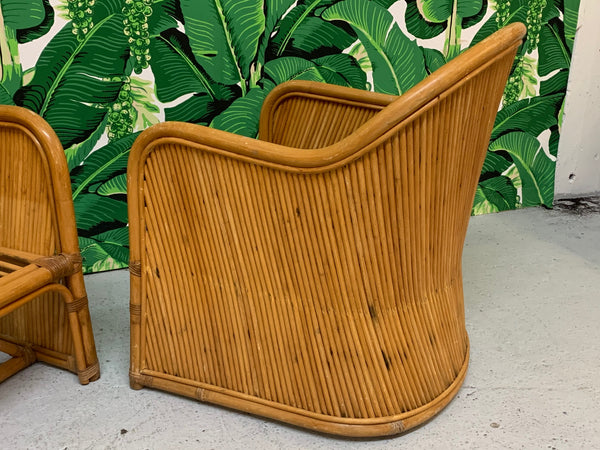 Split Reed Rattan Club Chairs in the Manner of Gabriella Crespi side view