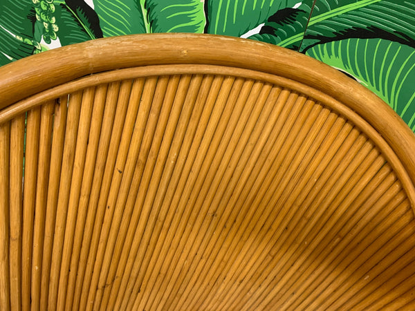 Split Reed Rattan Club Chairs in the Manner of Gabriella Crespi close up