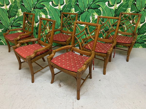 Set of Six Rattan Chinoiserie Faux Bamboo Dining Chairs front view