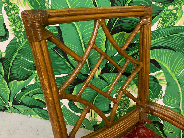 Set of Six Rattan Chinoiserie Faux Bamboo Dining Chairs close up