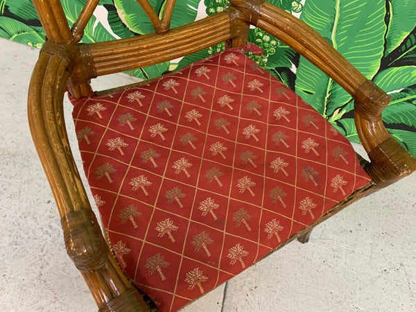 Set of Six Rattan Chinoiserie Faux Bamboo Dining Chairs lower view