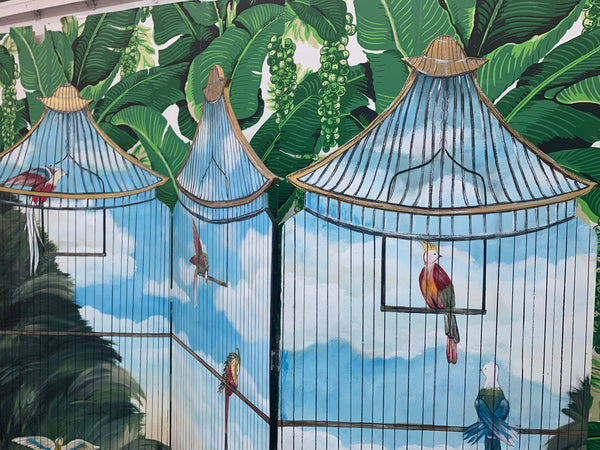 Large Hand Painted Birdcage 3 Panel Screen Room Divider