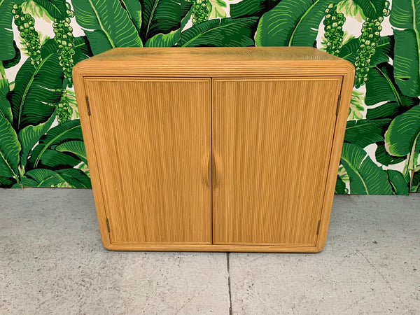 Split Reed Rattan Cabinet in the Manner of Gabriella Crespi front view