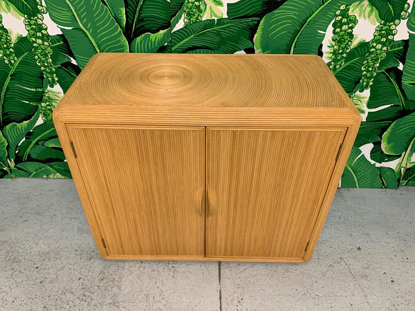 Split Reed Rattan Cabinet in the Manner of Gabriella Crespi top view