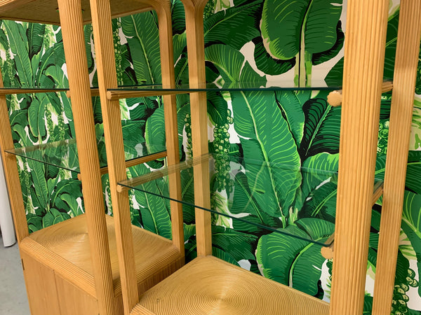 Split Reed Rattan Bookcases in the Manner of Gabriella Crespi close up