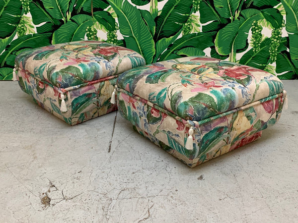 Palm Beach Style Pair of Floral Ottomans