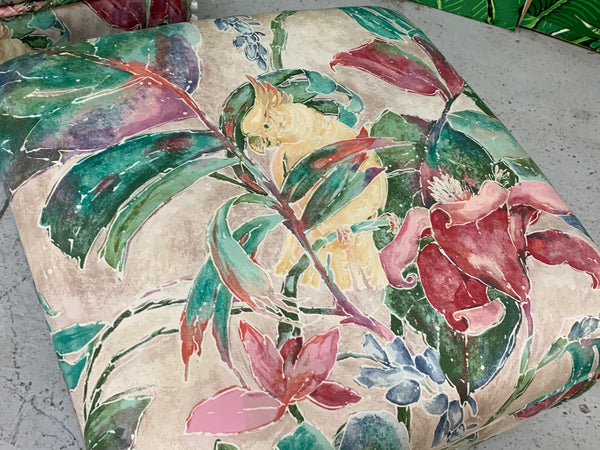Palm Beach Style Pair of Floral Ottomans top view